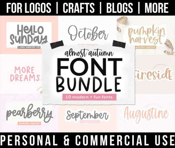 autumn font bundle with 10 modern handwritten fonts for commercial use.
