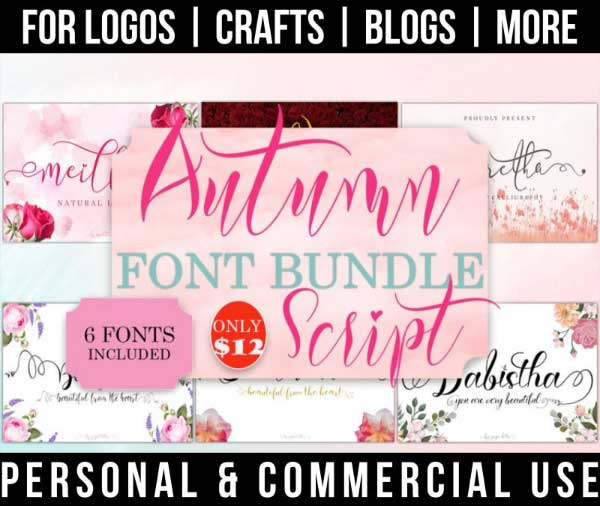 autumn font bundle with 6 fall script fonts for commercial use.