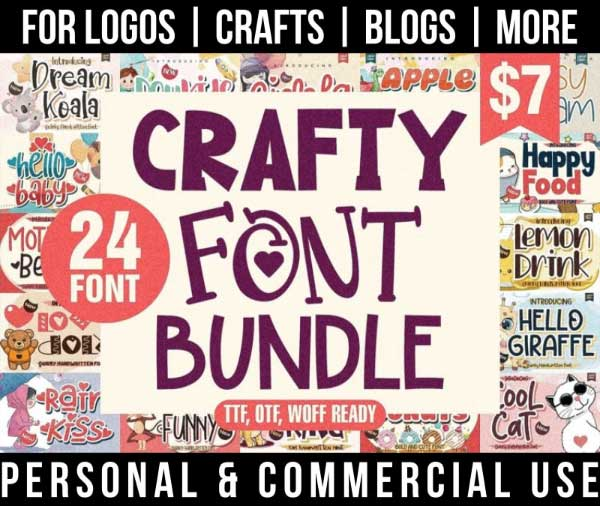 crafty font bundle with 24 beginner-friendly fonts for commercial use.