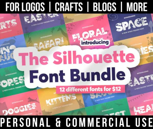 silhouette font bundle with 12 uniquely themed fonts for commercial use.