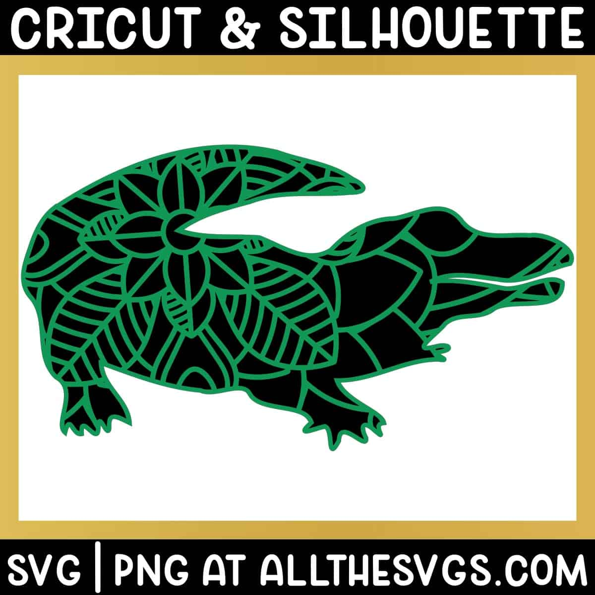 alligator crocodile jungle animal mandala svg png with patterned layer on solid animal silhouette layer.