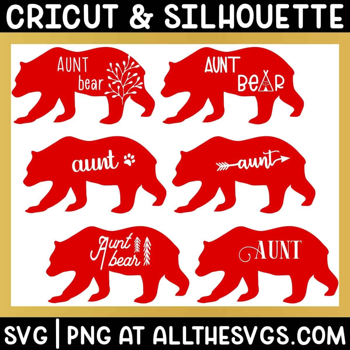 variety of standing walking aunt bear svg png - boho, cute, vintage, gender neutral