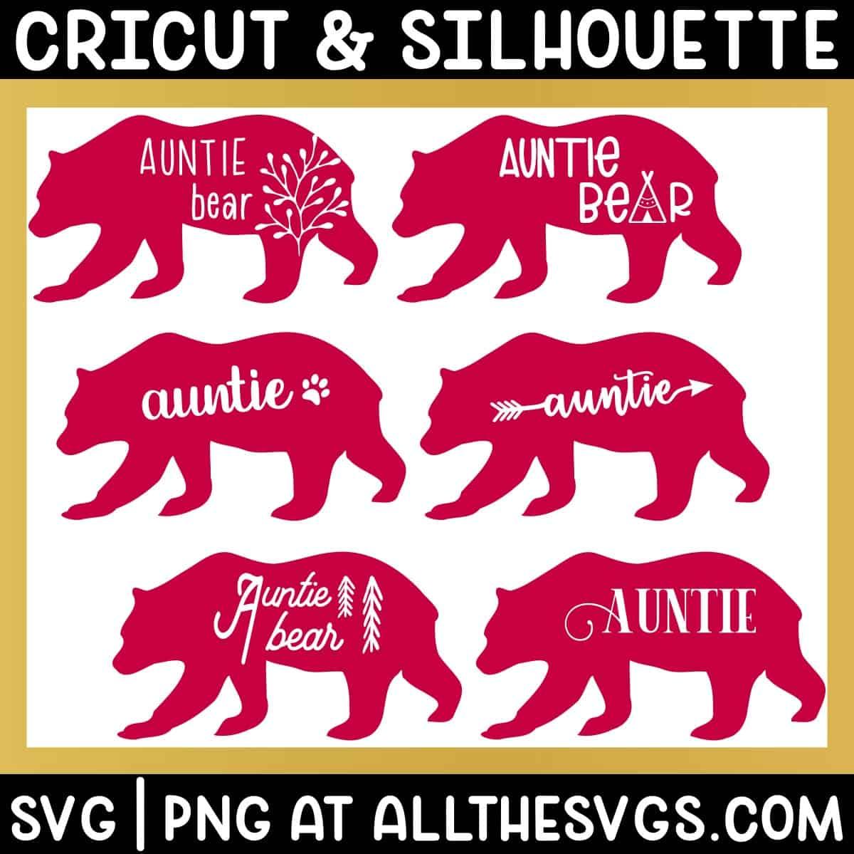 variety of standing walking auntie bear svg png - boho, cute, vintage, gender neutral