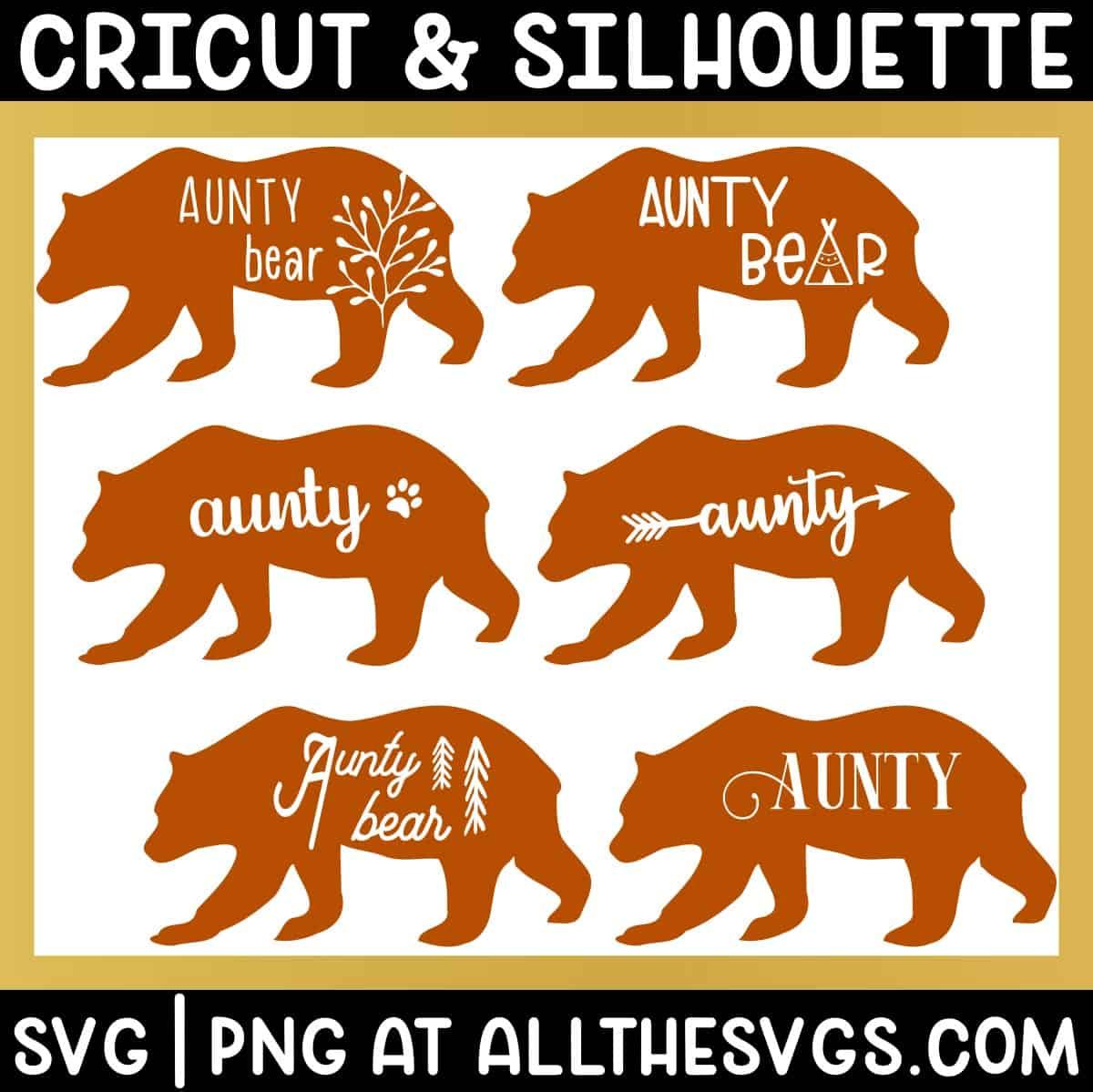 variety of standing walking aunty bear svg png - boho, cute, vintage, gender neutral.