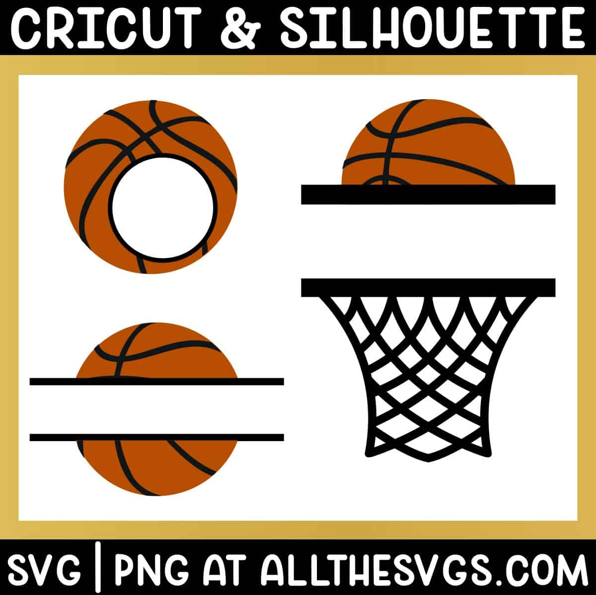free split, round basketball monogram svg png with ball.