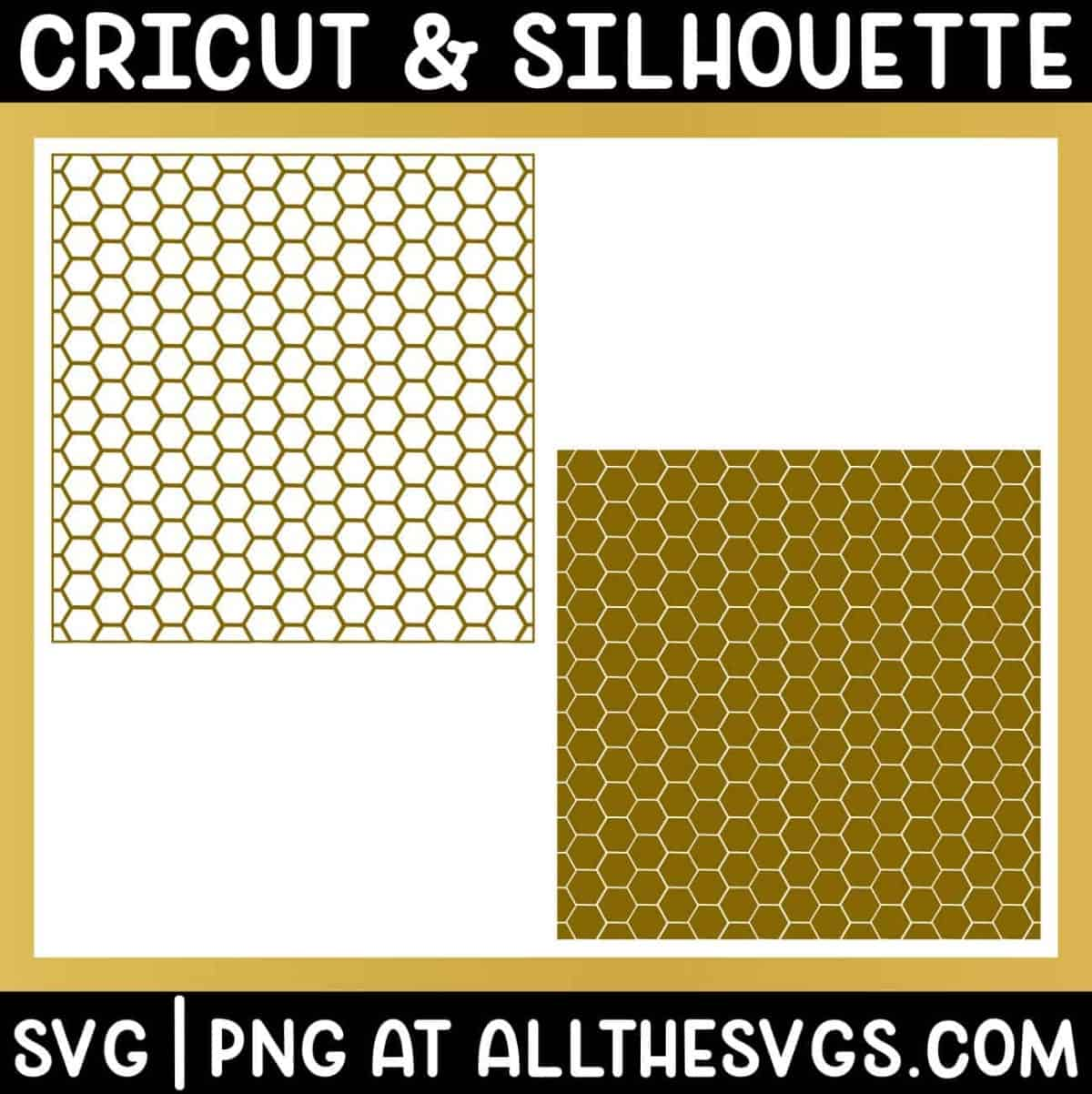 free bee honeycomb pattern svg png in solid hexagon and outline.