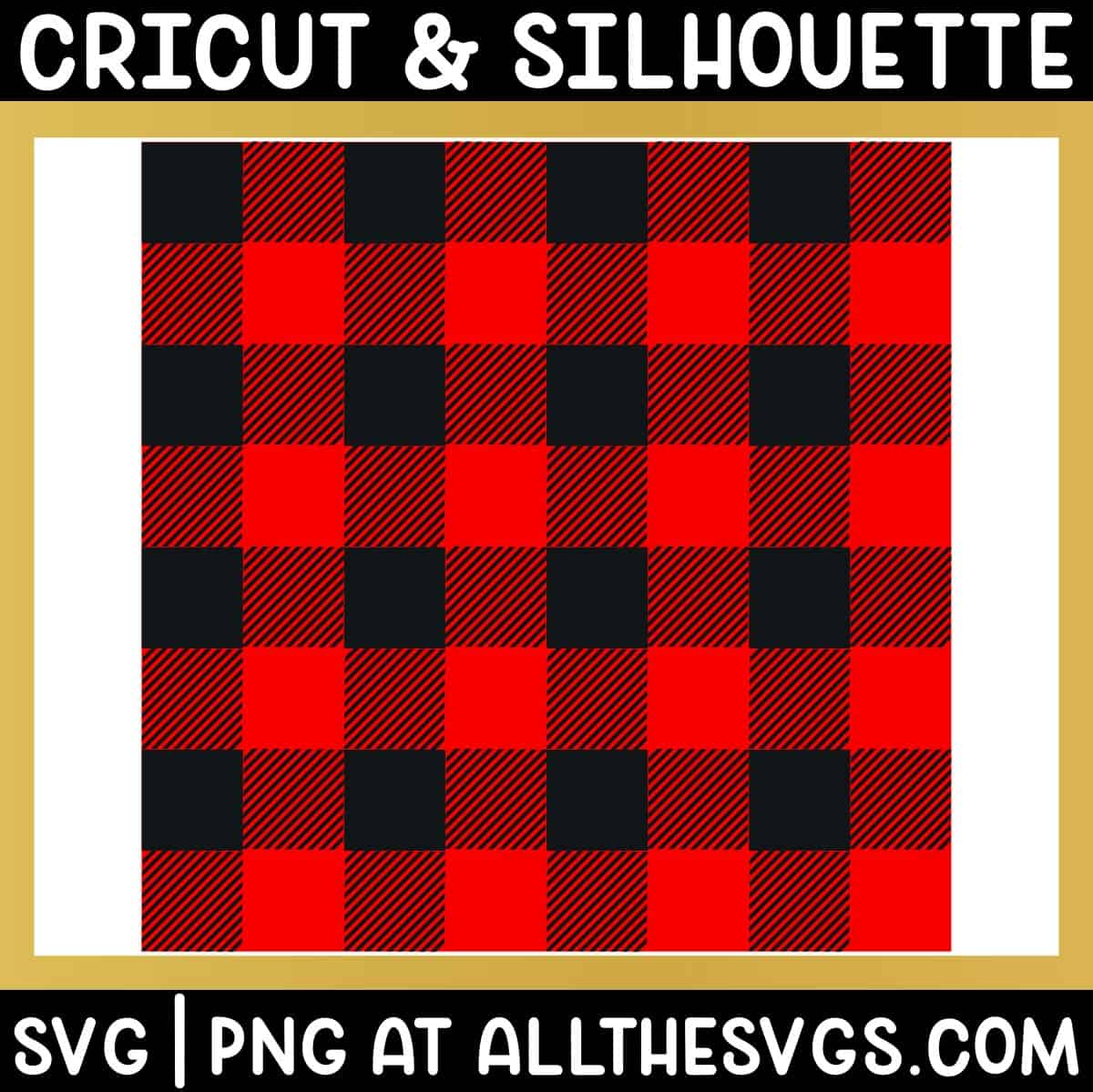 free buffalo plaid pattern svg file with black checkered solid and diagonally striped squares.