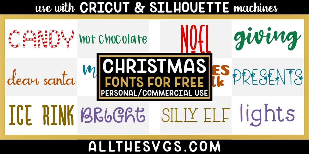 free christmas winter fonts with variety of typefaces like striped, santa handwriting, calligraphy script & more.