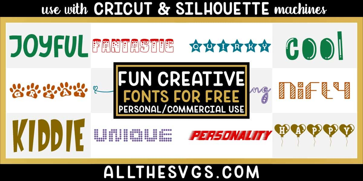 free creative, fun fonts with variety of typefaces like dog paw prints, stars, dots and more.