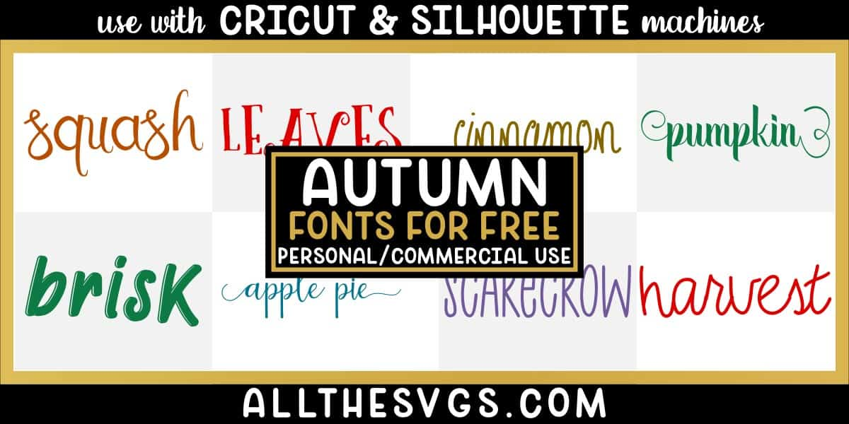 free autumn fall fonts with variety of typefaces like mixed case handwriting, script calligraphy with tails & more.