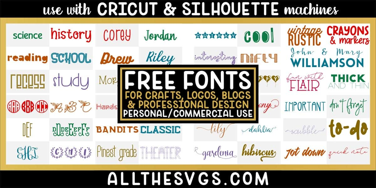 free fonts with variety of typefaces like script with tails, quirky pairs, monograms, crafting & more