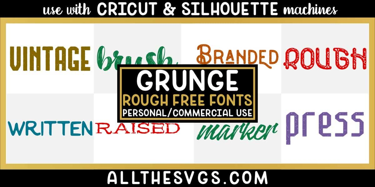 free grunge, distressed, rough fonts with variety of typefaces like letterpress, brush calligraphy, monoline with glyphs & more.