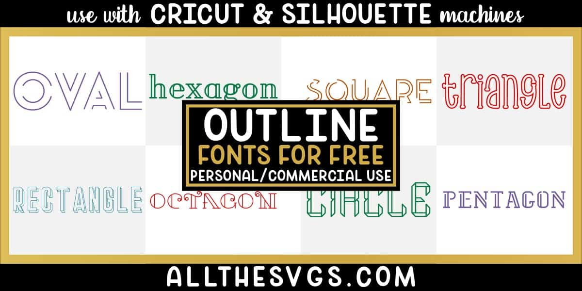 free outlined fonts with variety of typefaces like mixed case handlettering, shadowed text, partial double lined & more.