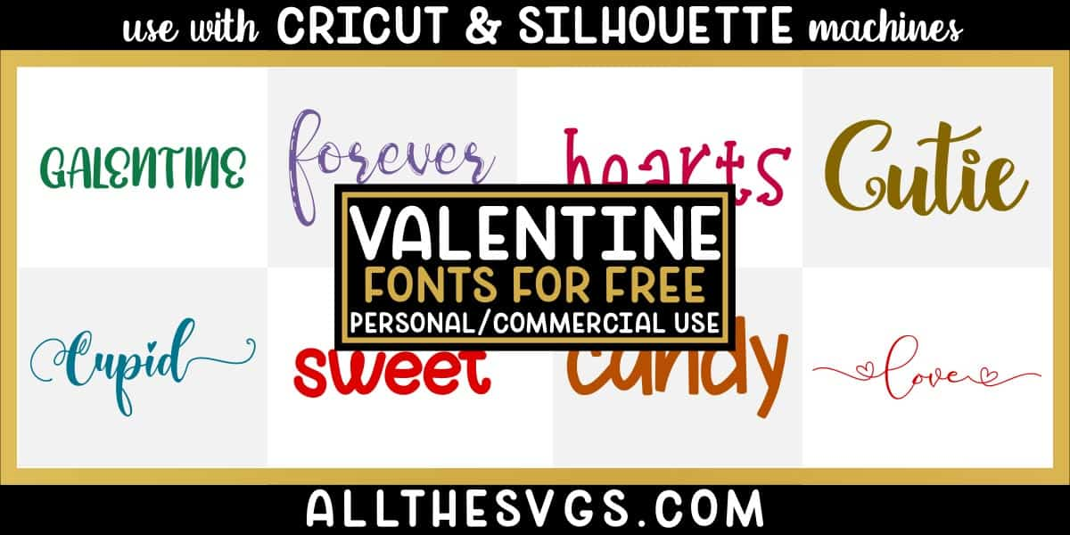 free valentine fonts with variety of typefaces like brush calligraphy, handlettered caps, script tails with hearts & more.