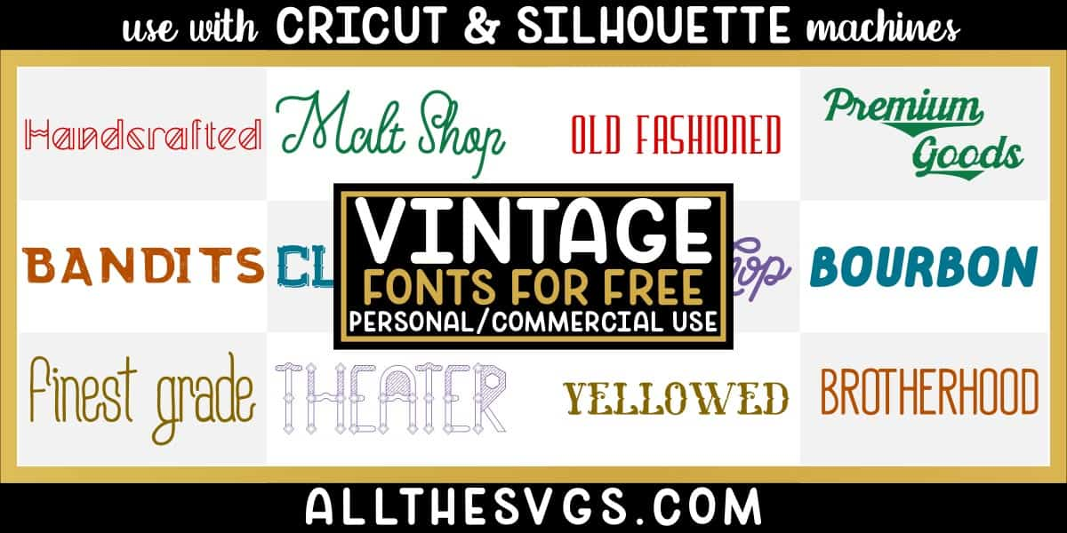 free vintage fonts with variety of typefaces like monoline, shadowed spurs & more.