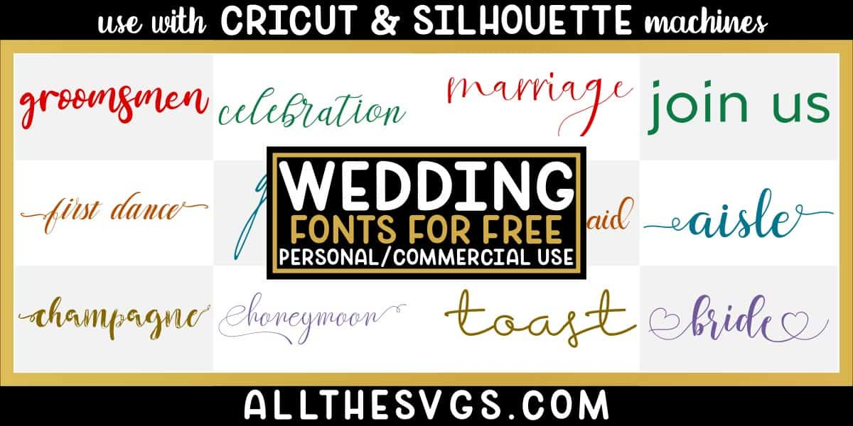 free wedding fonts with variety of typefaces like thin signature, thick calligraphy script, heart glyphs & more.