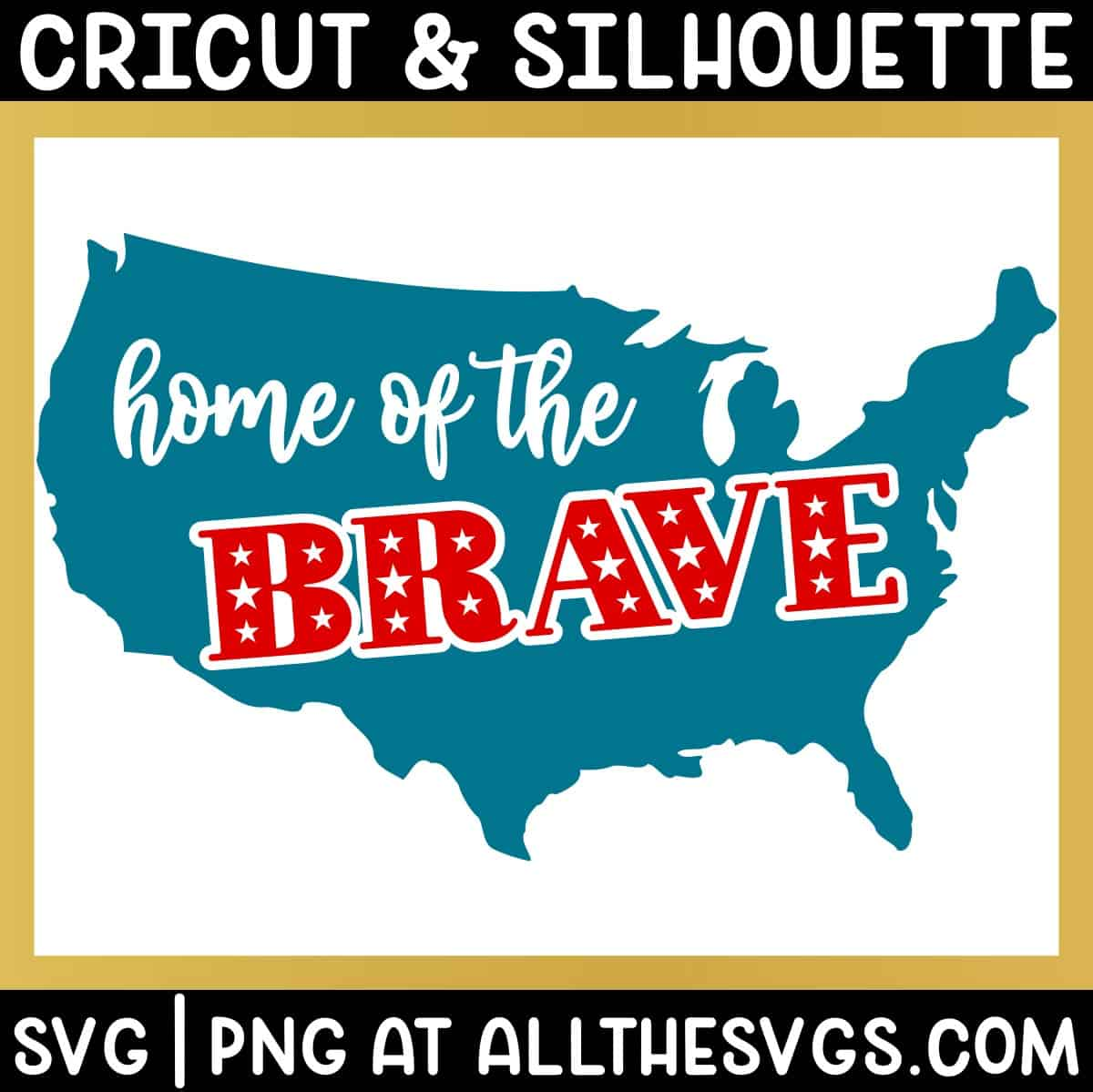 free home of the brave svg png with phrase on top of us continent.