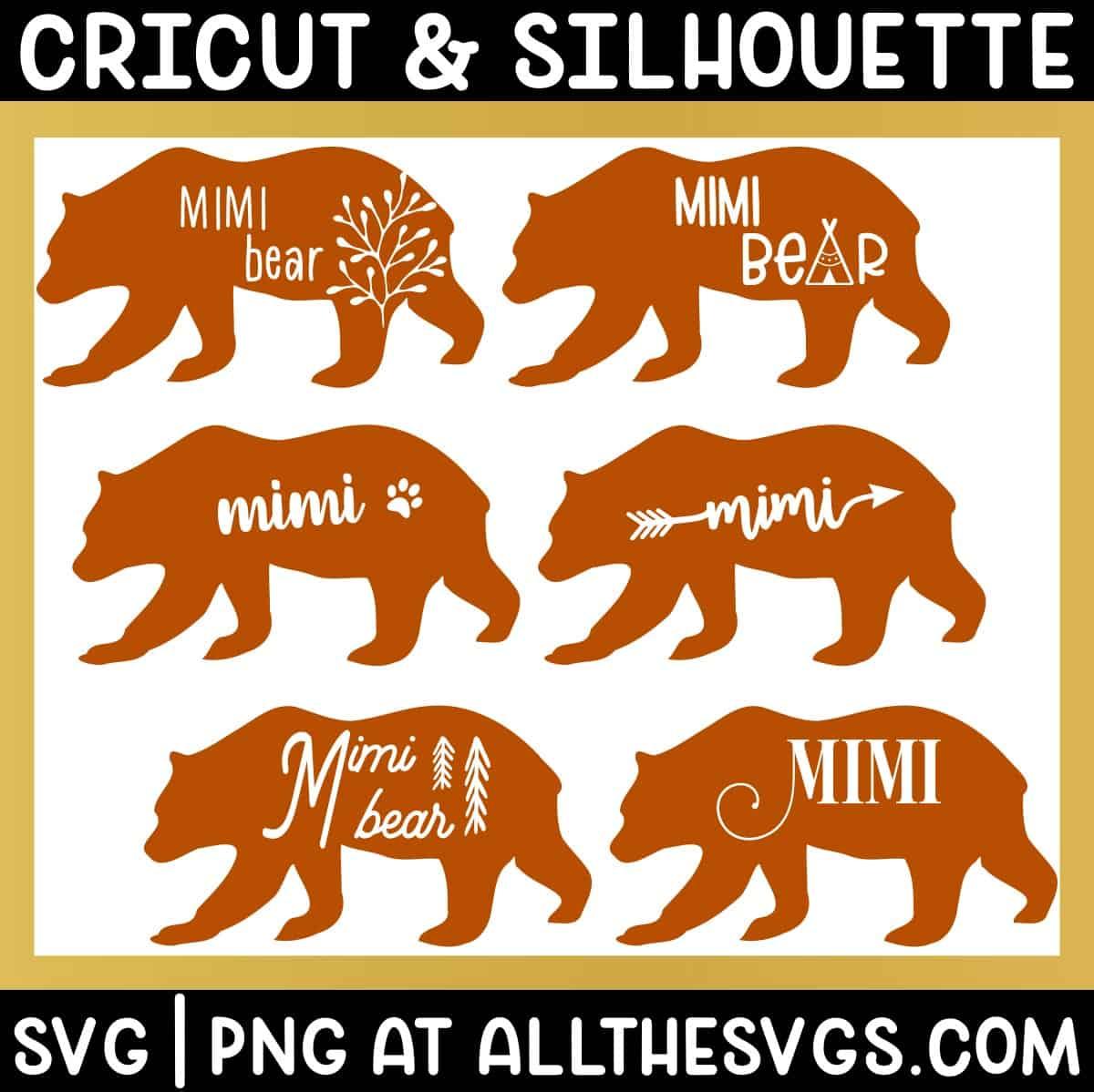 variety of standing walking mimi bear svg png - boho, cute, vintage, gender neutral.