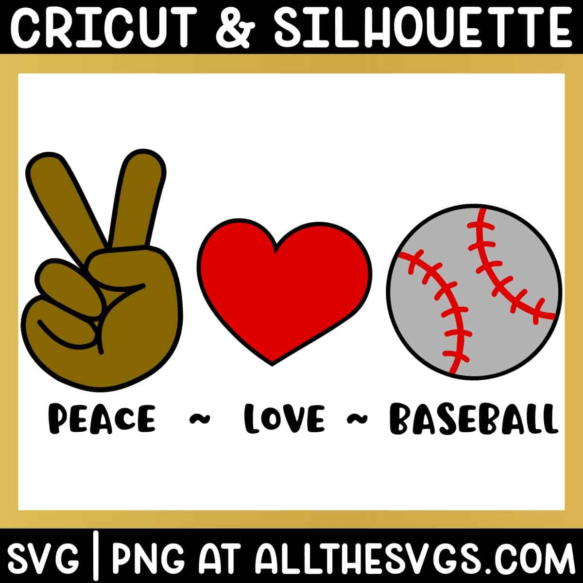 free peace, love, baseball svg png bundle with hand sign, heart, ball.
