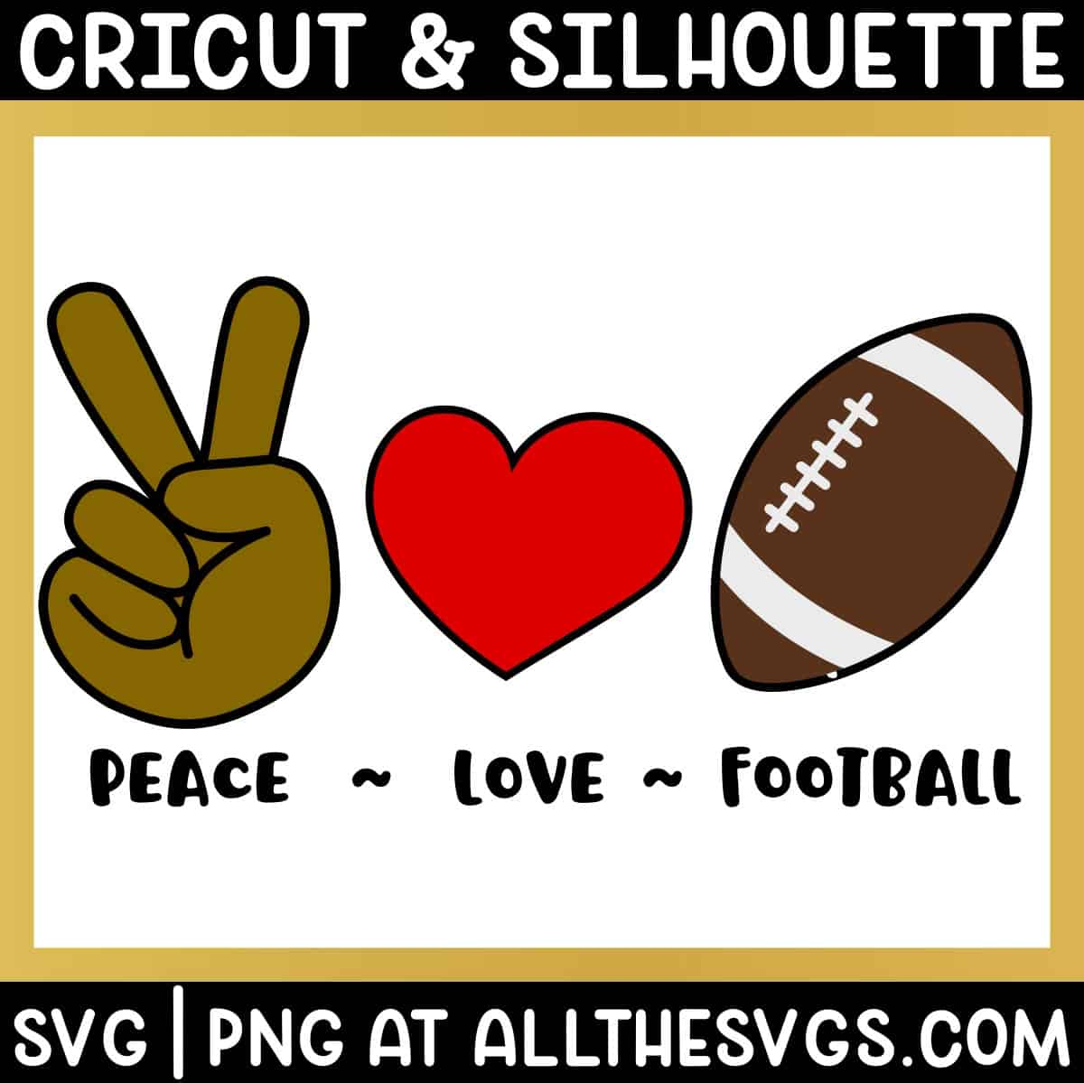 free peace, love, american football svg png bundle with hand sign, heart, ball.