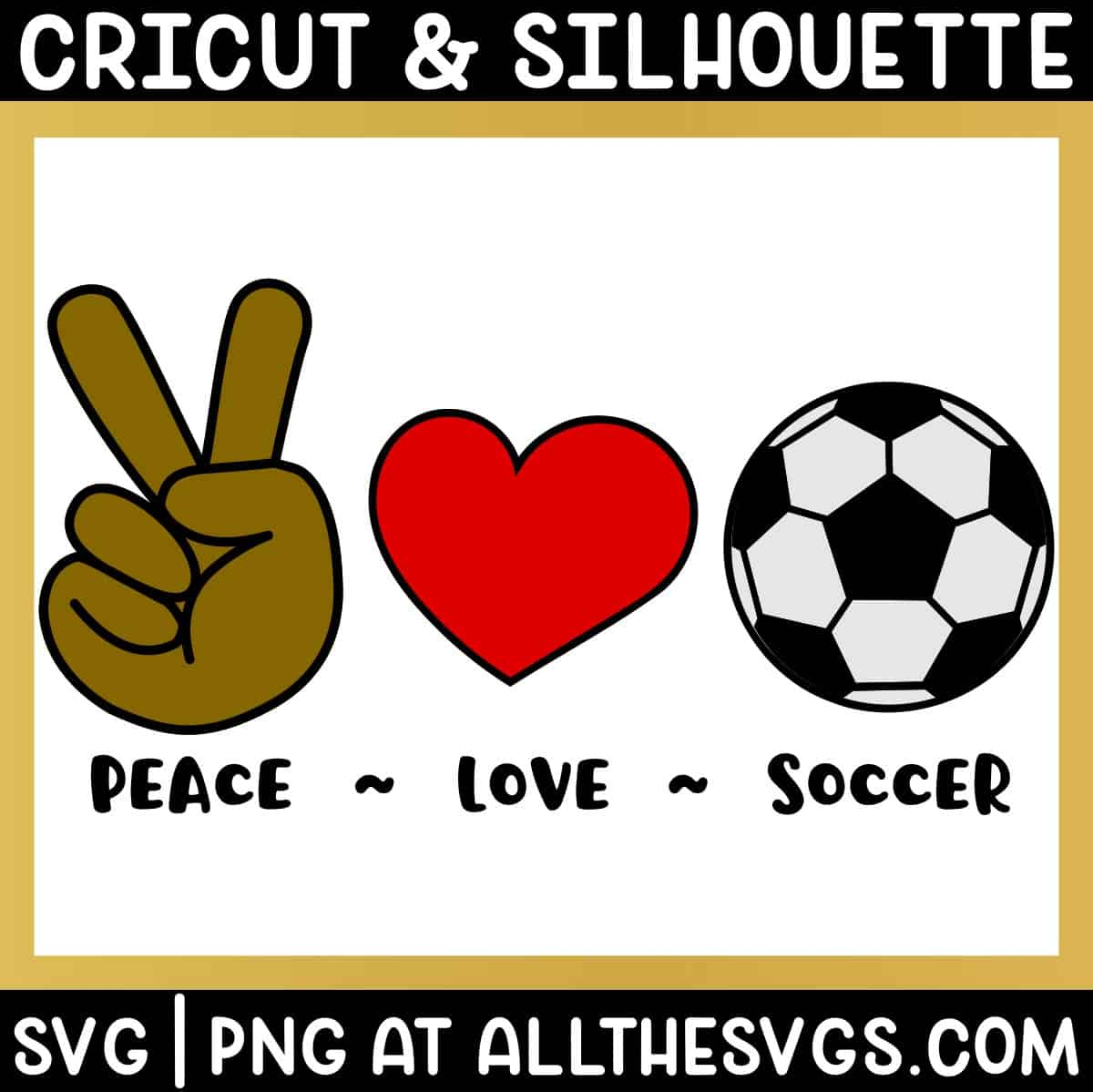 free peace, love, soccer football svg png bundle with hand sign, heart, ball.