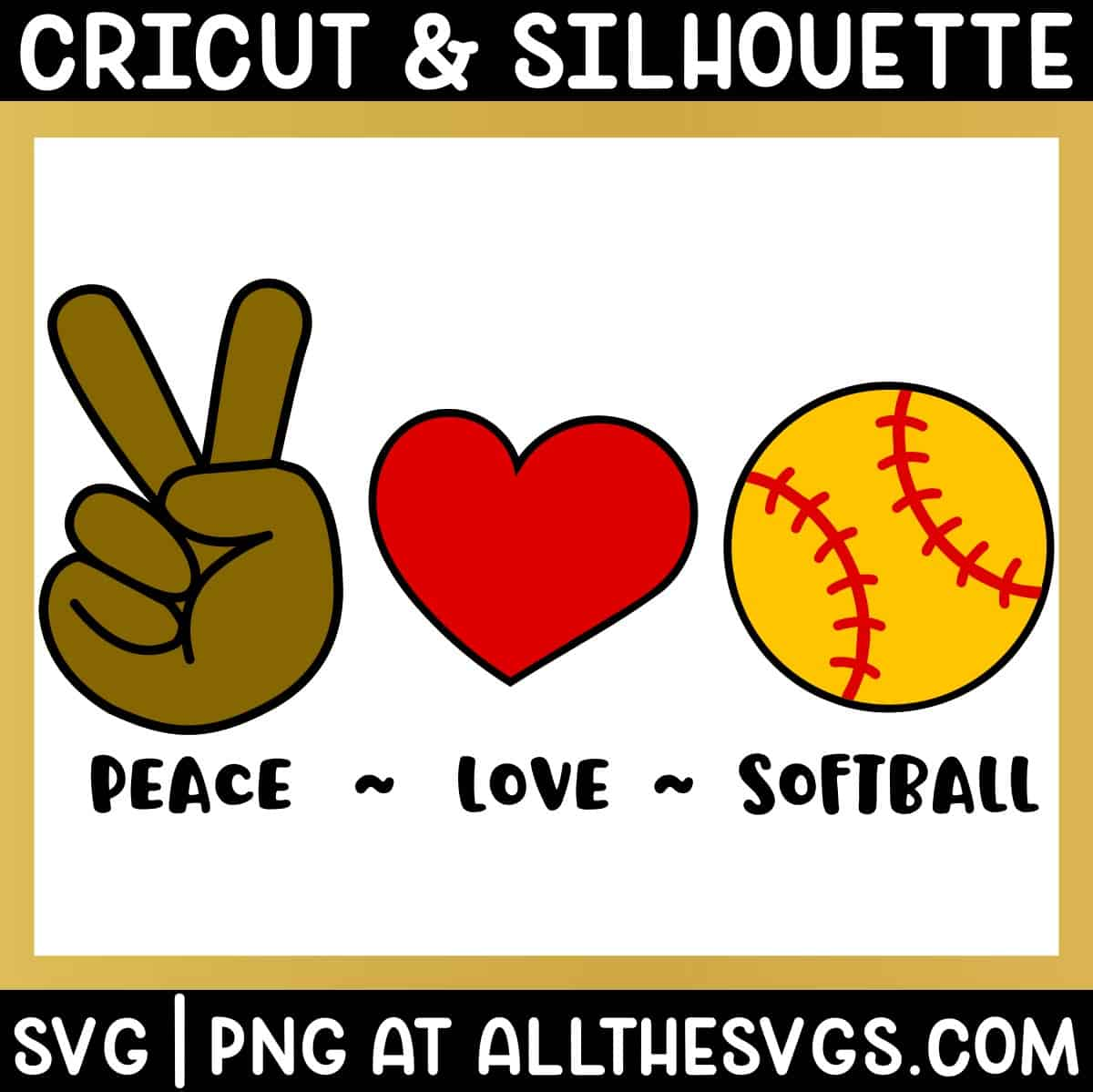 free peace, love, softball svg png bundle with hand sign, heart, ball.