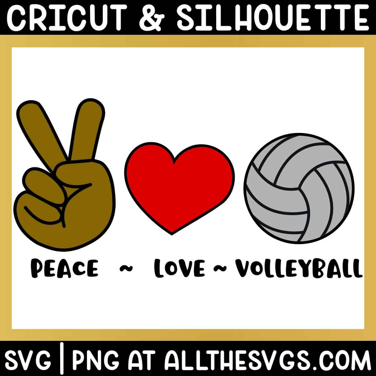 free peace, love, volleyball svg png bundle with hand sign, heart, ball.