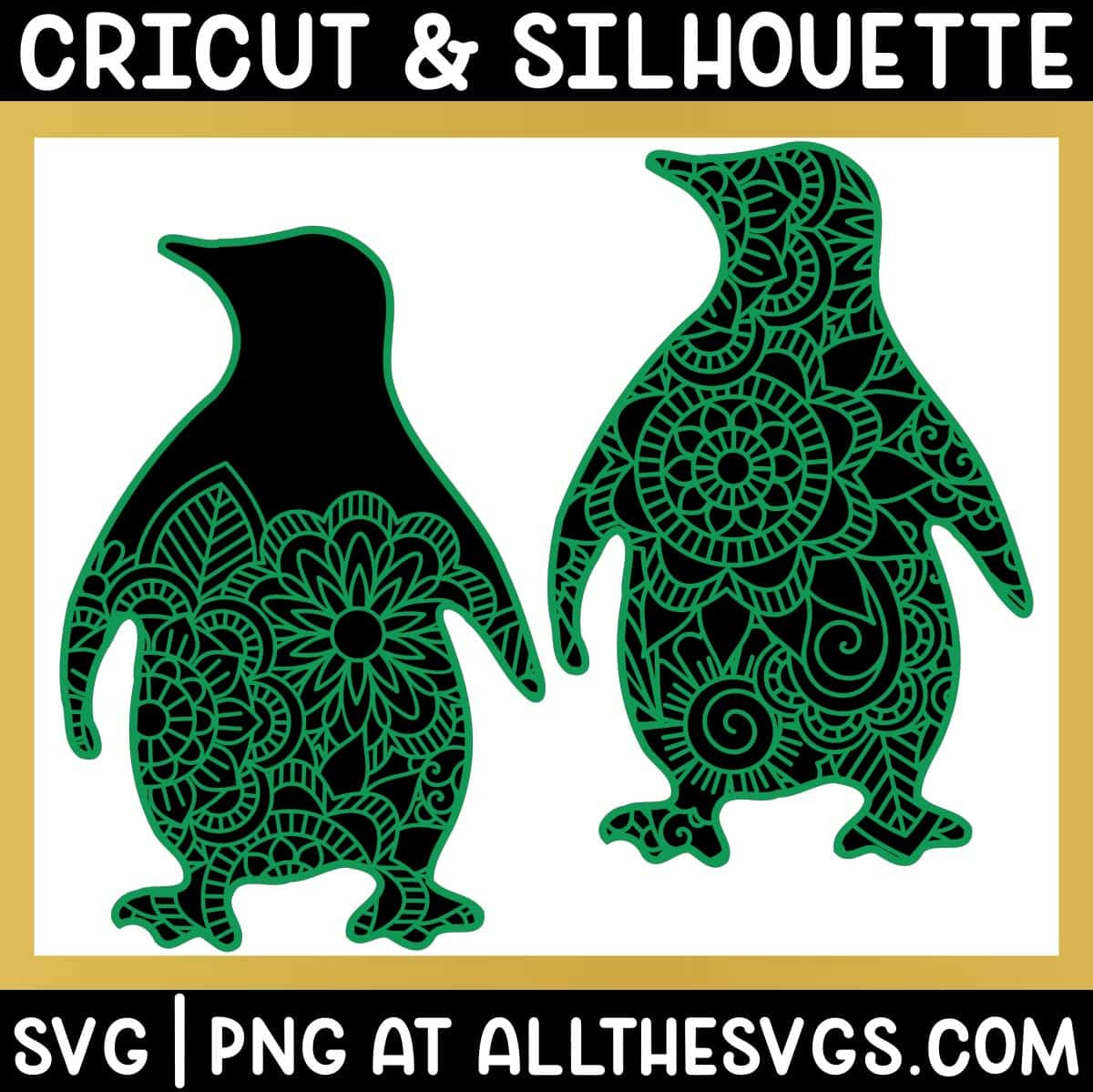 2 versions of penguin svg file mandala on full body and area below head