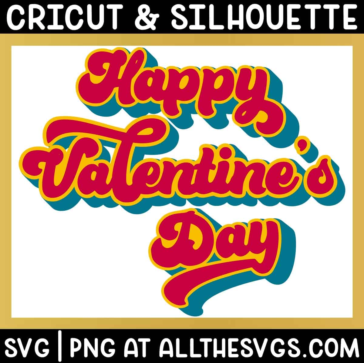 free happy valentine's day in script retro valentine svg png with shadow extrude