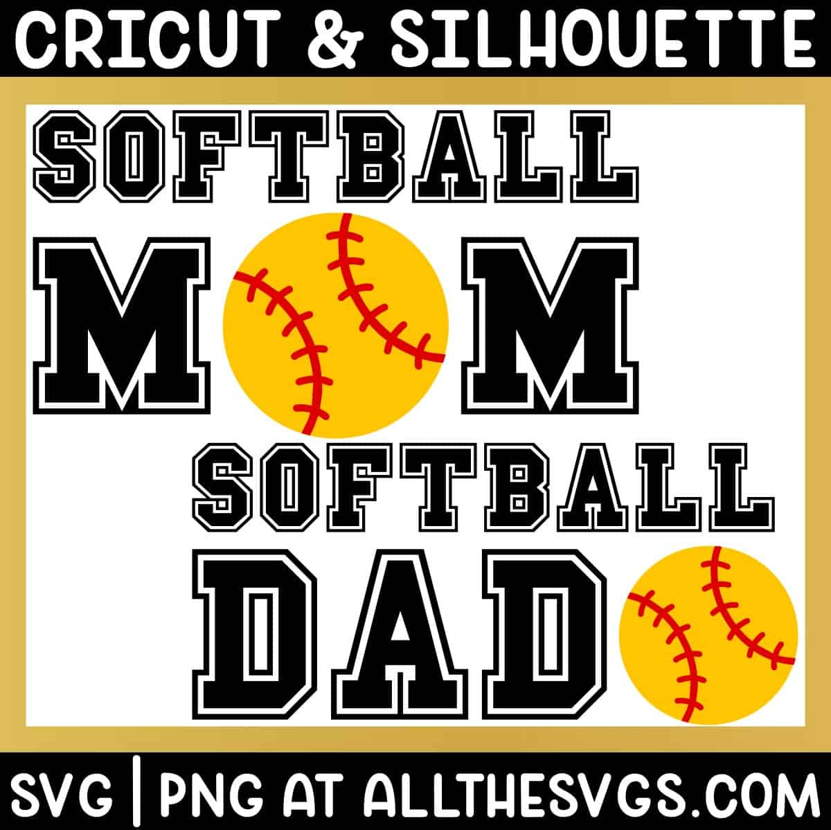 free softball mom dad svg png for t shirt.