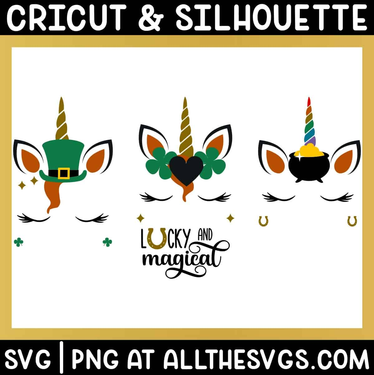 free st patrick's day unicorn face svg png with ear, horn, eyelashes, leprechaun hat, pot of gold, clover, and horseshoe.