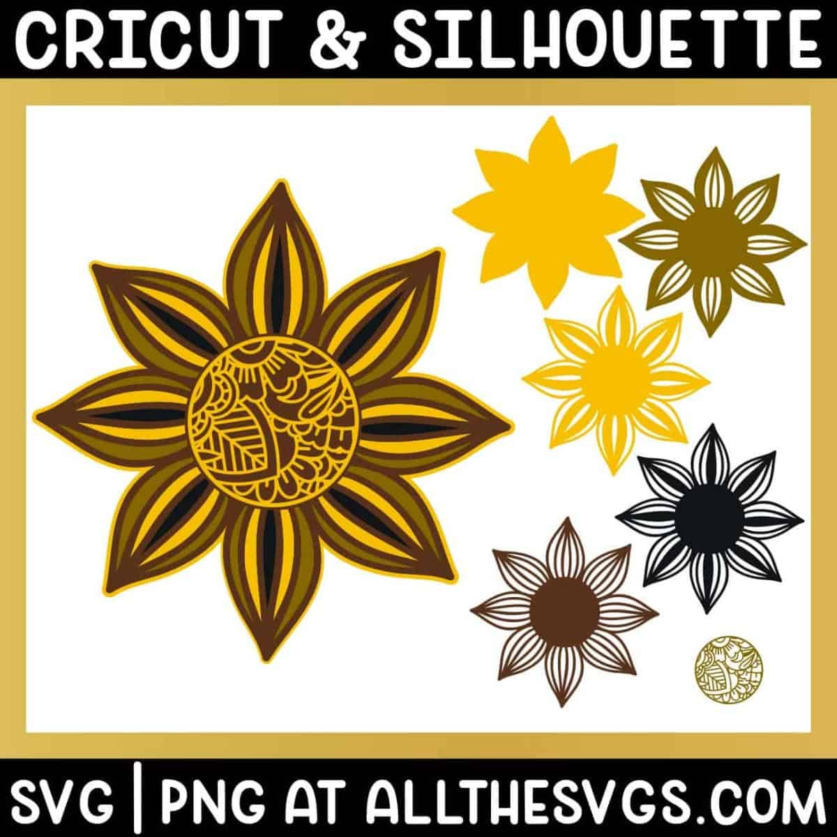 free sunflower 3d mandala zentangle svg png with 6 layers.