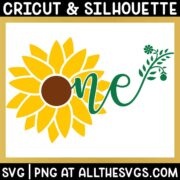 free sunflower one svg png with flower center as o and ne written as stem