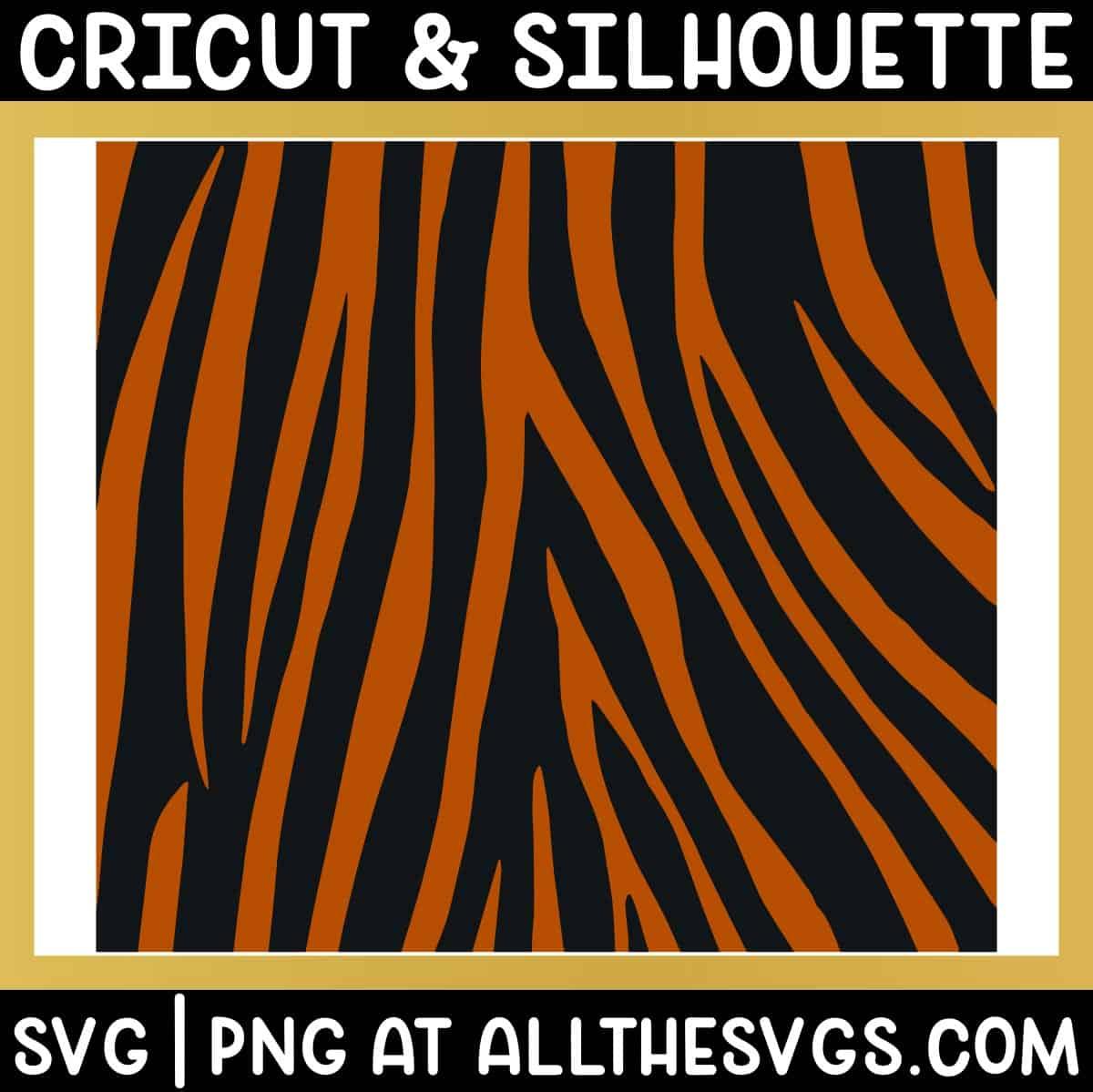 free tiger stripe pattern svg file side view.