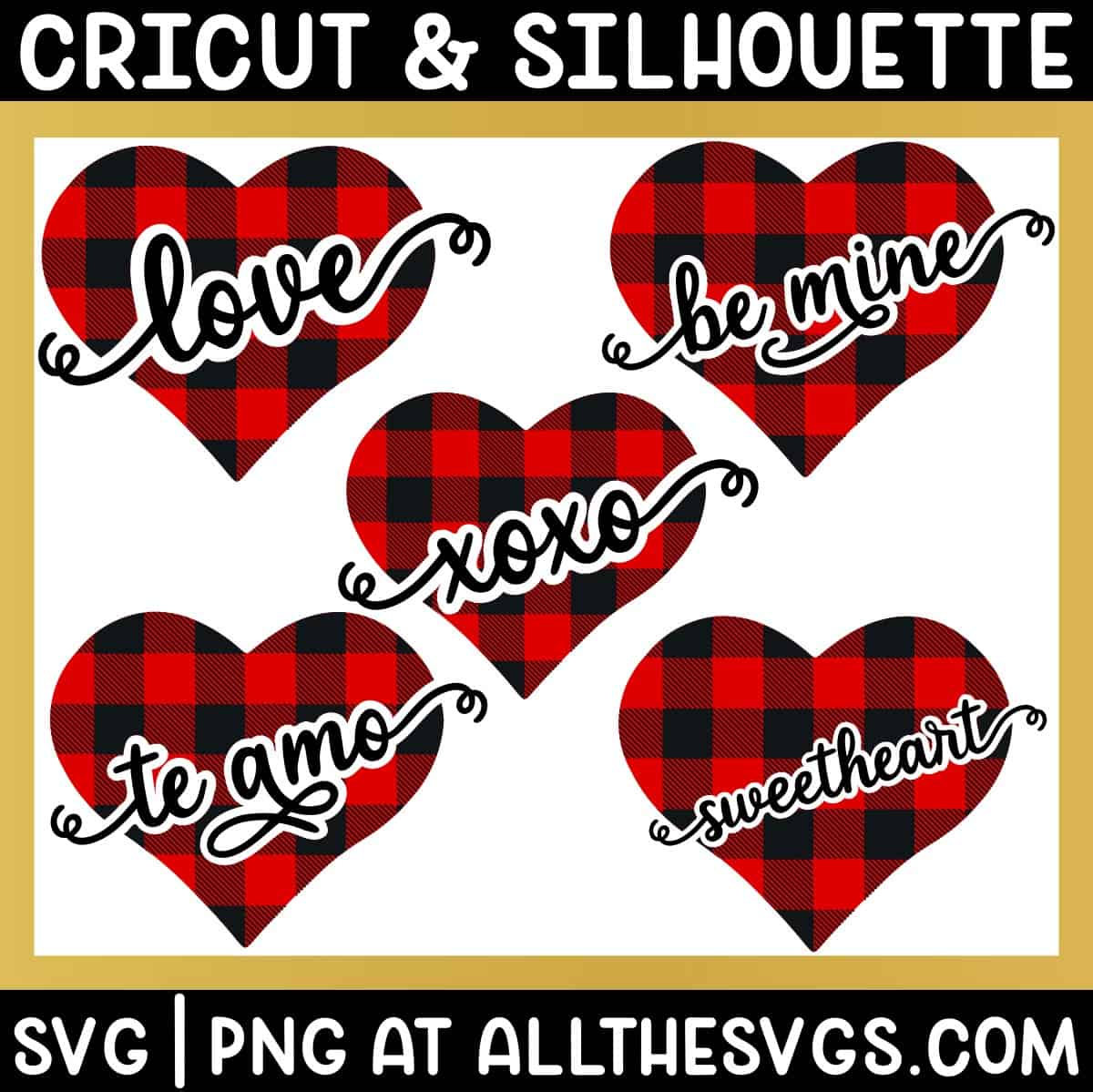 buffalo checkered symmetrical hearts with valentine phrases sliced out