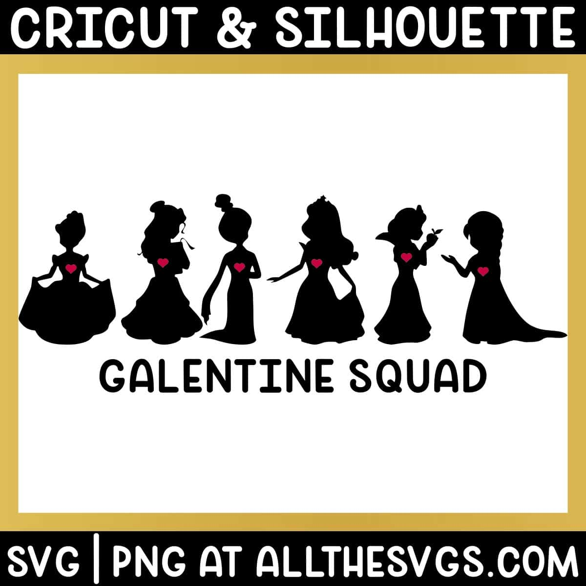 free disney princess galentine squad svg file chibi anime style silhouettes with hearts