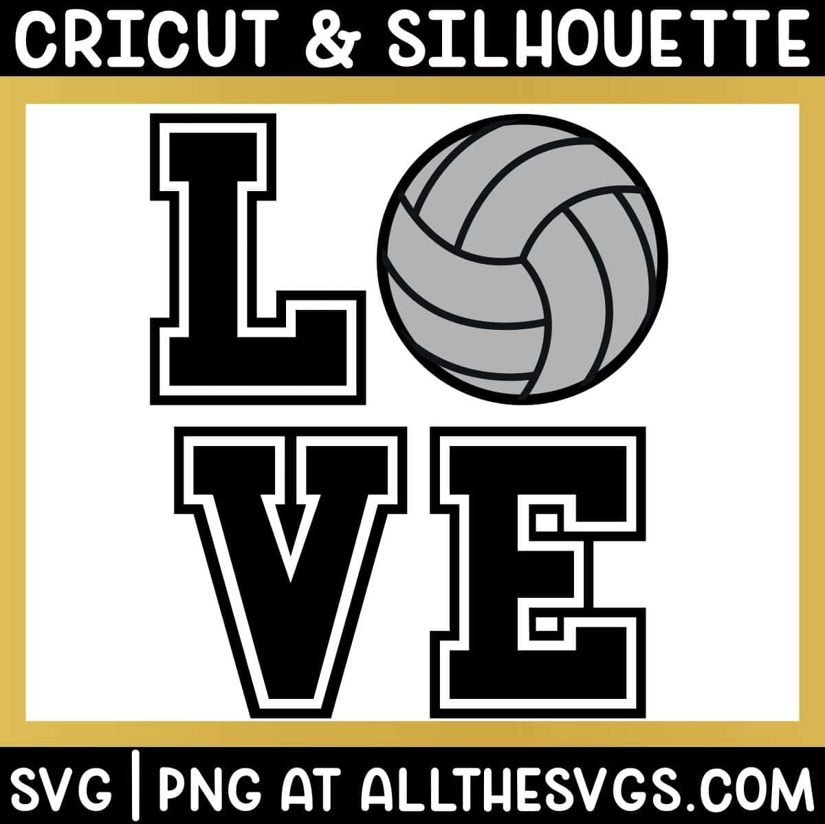 free volleyball love square svg png.