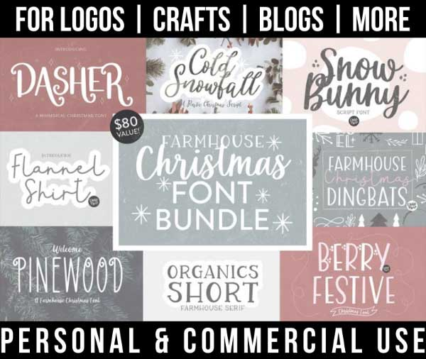 christmas font bundle with 8 farmhouse fonts for commercial use.