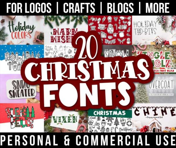 christmas font bundle with 20 winter fonts for commercial use.