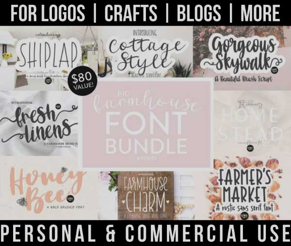 farmhouse font bundle with 8 beautiful fonts for commercial use.