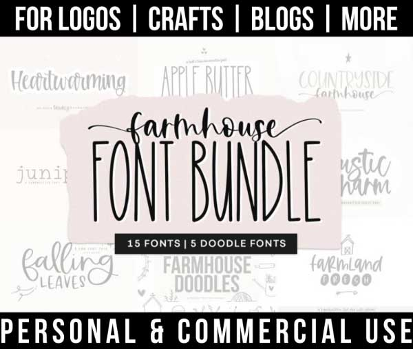 farmhouse font bundle with 15 rustic fonts for commercial use.