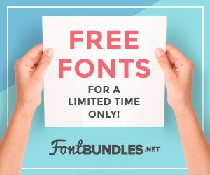 free fonts for a limited time ad banner from font bundles.