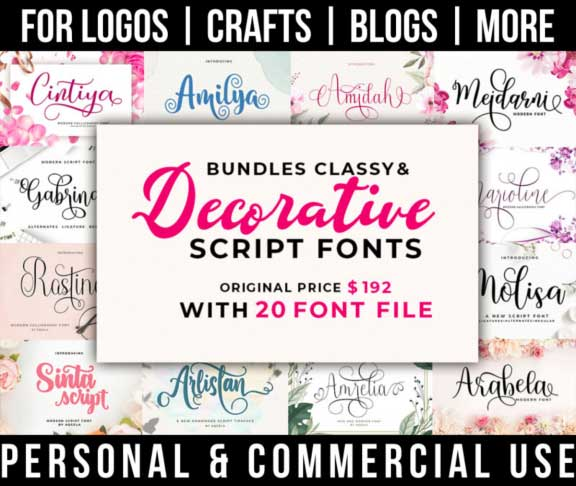 script font bundle with 20 classy, decorative fonts for commercial use.