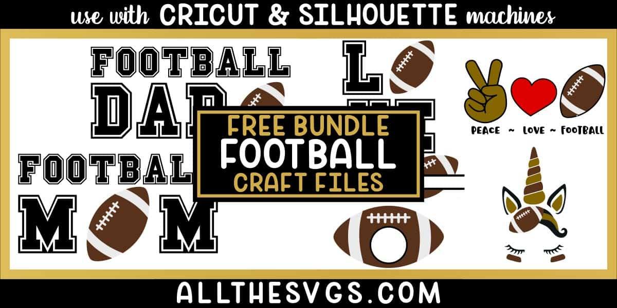 football svg png bundle with monogram, peace, love, unicorn, mom, dad designs.
