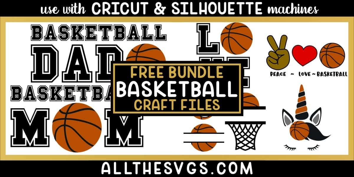 basketball svg png bundle with monogram, peace, love, unicorn, mom, dad designs.