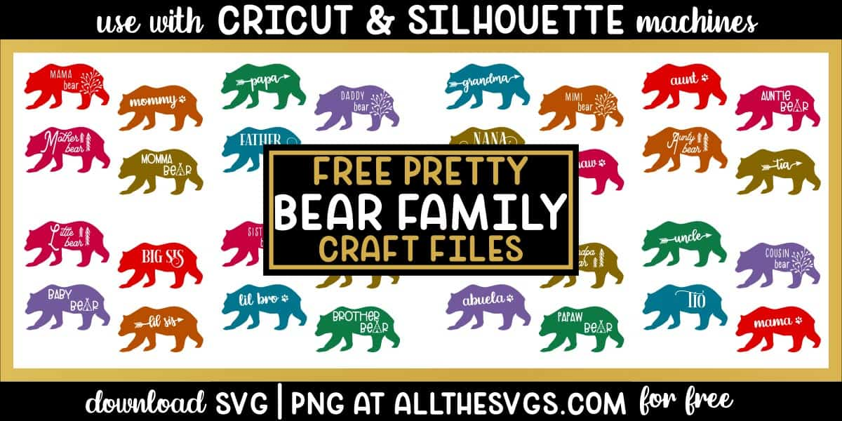 family bear svg png with teepee, arrow, tree, paw print, and other styles.