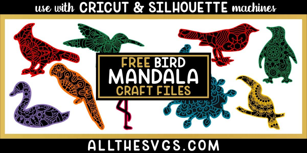 showcase of bird mandala svg, png in 2 layers - top with sliced mandala design, bottom of animal silhouette.