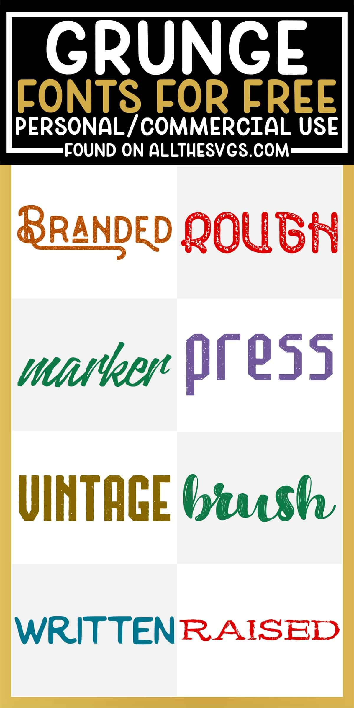showcase of 8 best free rough, distressed, grunge fonts for commercial use.
