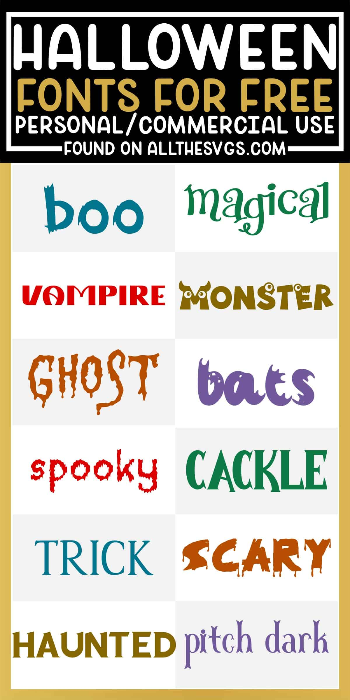 showcase of 12 best free scary and cute halloween fonts for commercial use.