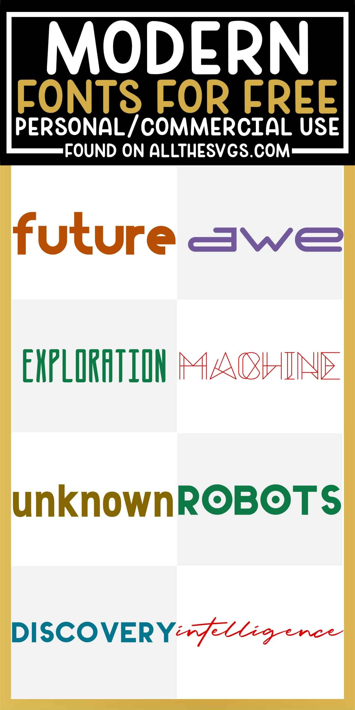 showcase of 8 best free modern futuristic fonts for commercial use.